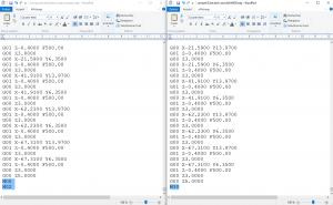 comparaison Gcode